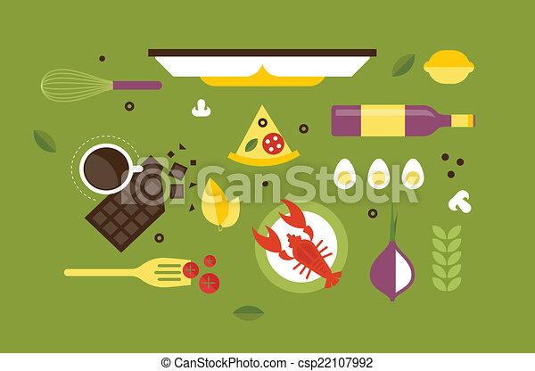 ヘッダー, 料理, 机 - csp22107992