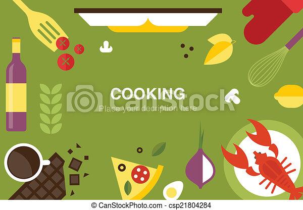 ヘッダー, 料理, 机 - csp21804284