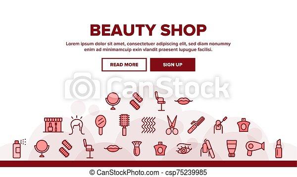 ヘッダー, 美しさ, ベクトル, 着陸, 店 - csp75239985