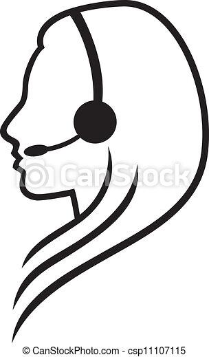 ヘッドホン, シンボル, headset), (women - csp11107115