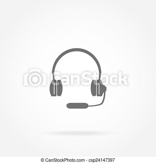 ヘッドホン, マイクロフォン, ヘッドホン, アイコン - csp24147397