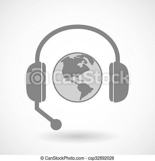 ヘッドホン, 地域, 援助, 世界, アメリカ, 地球, アイコン - csp32892026