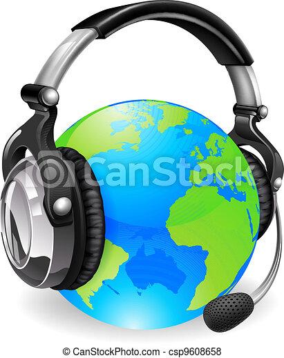 ヘッドホン, 地球, 机, 助け, 世界 - csp9608658