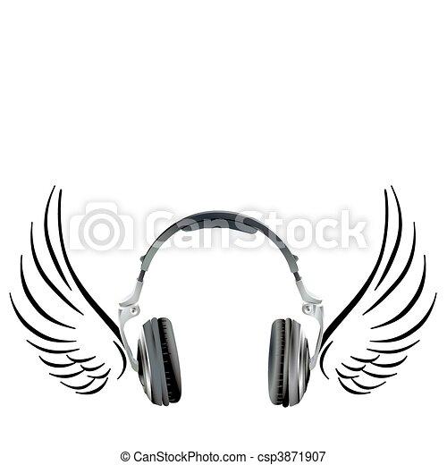ヘッドホン, 飛行, 翼 - csp3871907