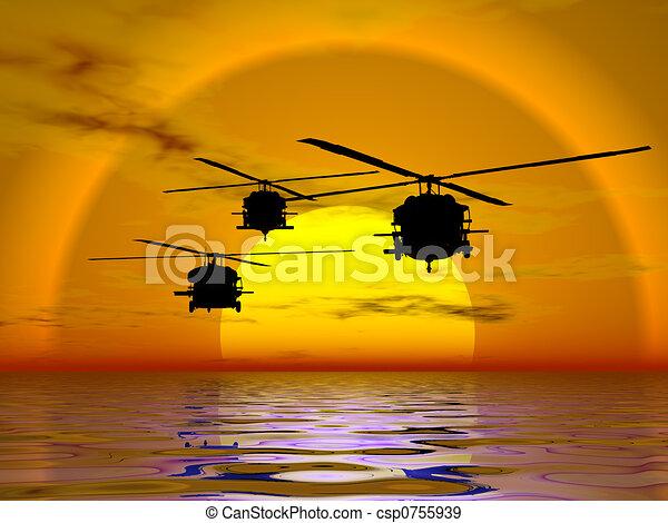 ヘリコプター, blackhawk, 軍隊 - csp0755939