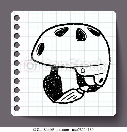 ヘルメット, スケート, いたずら書き - csp28224139