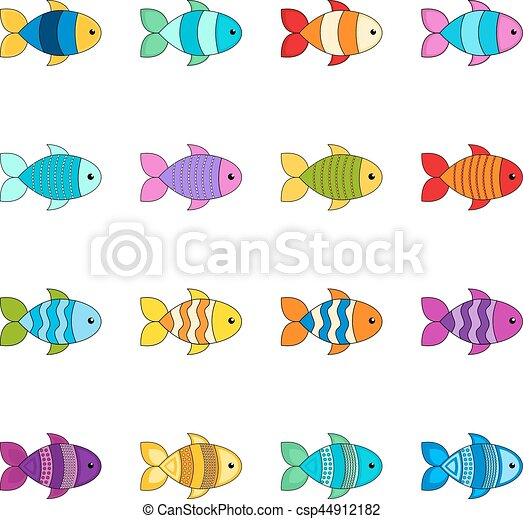 ベクトル かわいい セット イラスト 魚