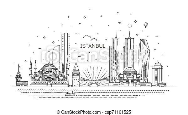 ベクトル, イラスト, イスタンブール, スタイル, 線である, スカイライン - csp71101525