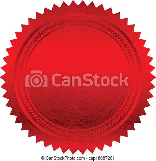 ベクトル, イラスト, 赤, シール - csp18687261