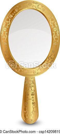 ベクトル, イラスト, 金, 鏡 - csp14209819