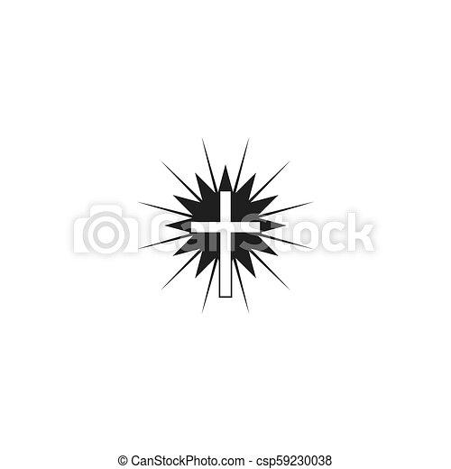ベクトル, キリスト教徒, 交差点, アイコン - csp59230038