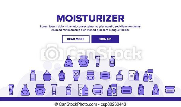 ベクトル, クリーム, moisturizer, ヘッダー, 着陸 - csp80260443