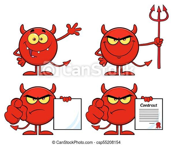 ベクトル, コレクション, 漫画, 悪魔, character., 赤, emoji - csp55208154