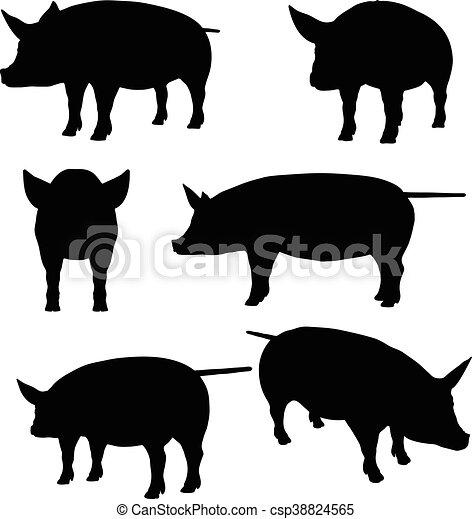 ベクトル シルエット コレクション 豚 10 シルエット Eps