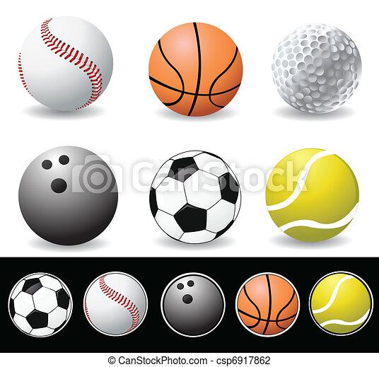 ベクトル, スポーツ, イラスト, ボール - csp6917862