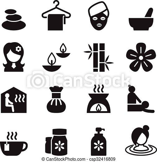 ベクトル, セット, &, アイコン, イラスト, 2, 療法, エステ, 選択肢 - csp32416809