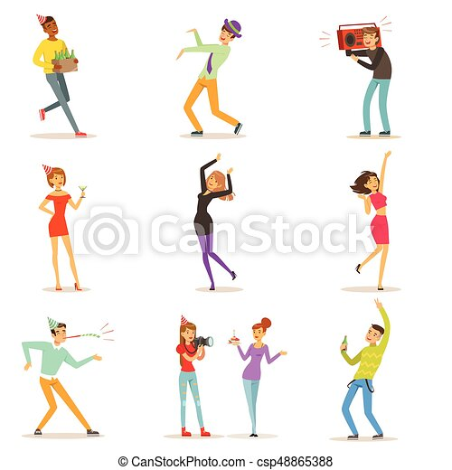 ベクトル, セット, カラフルである, ダンス, 人々, 祝う, 楽しみ, birthday, 特徴, イラスト, パーティー, 持つこと, 幸せ - csp48865388