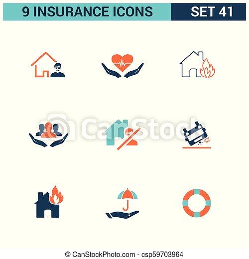 ベクトル, セット, 保険, アイコン - csp59703964