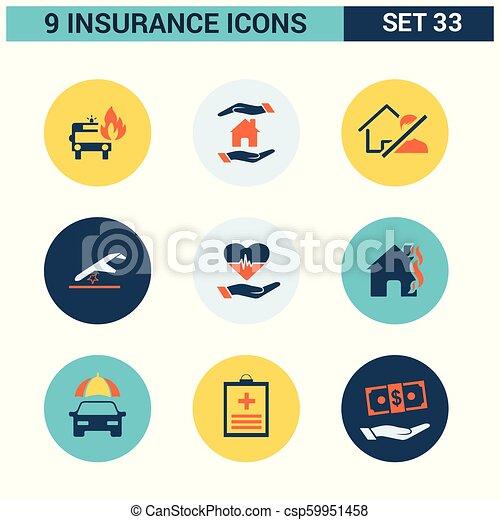 ベクトル, セット, 保険, アイコン - csp59951458
