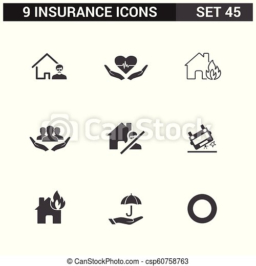 ベクトル, セット, 保険, アイコン - csp60758763