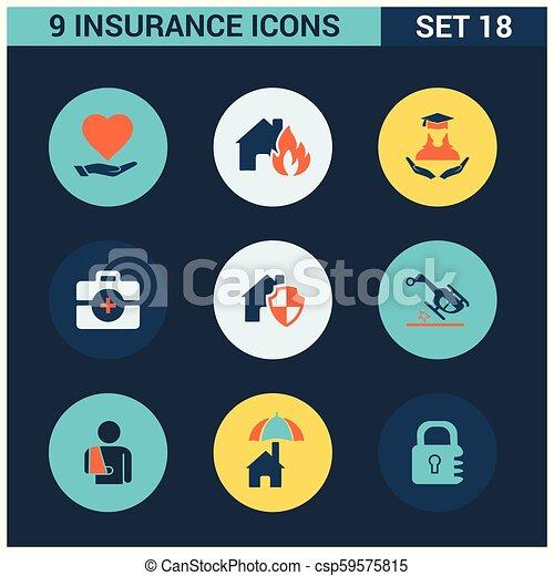 ベクトル, セット, 保険, アイコン - csp59575815