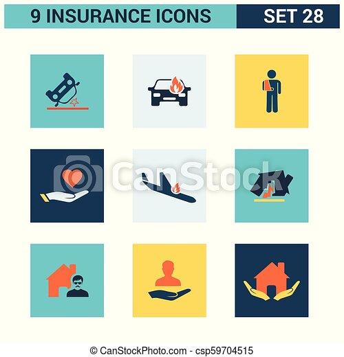 ベクトル, セット, 保険, アイコン - csp59704515