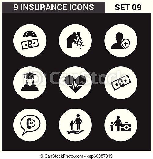 ベクトル, セット, 保険, アイコン - csp60887013