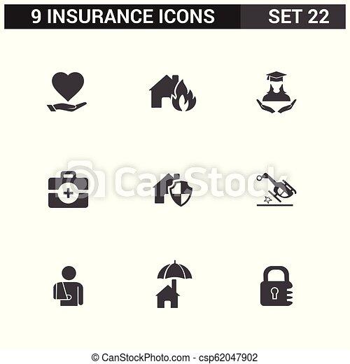 ベクトル, セット, 保険, アイコン - csp62047902