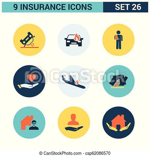 ベクトル, セット, 保険, アイコン - csp62086570