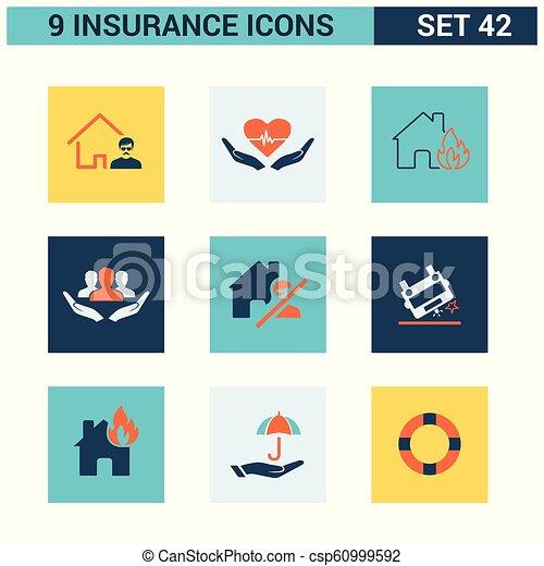 ベクトル, セット, 保険, アイコン - csp60999592