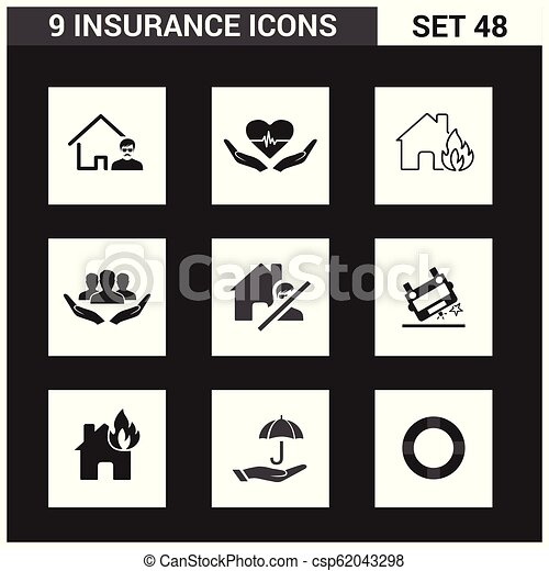 ベクトル, セット, 保険, アイコン - csp62043298