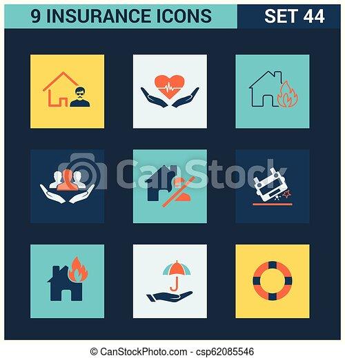 ベクトル, セット, 保険, アイコン - csp62085546
