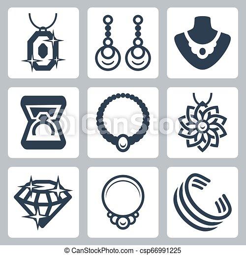 ベクトル, セット, 宝石類, 関係した, アイコン - csp66991225
