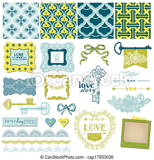 ベクトル, セット, 愛, 型, -, 要素, デザイン, 結婚式, スクラップブック - csp17933036