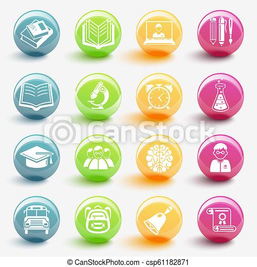 ベクトル, セット, 教育, イラスト, アイコン - csp61182871