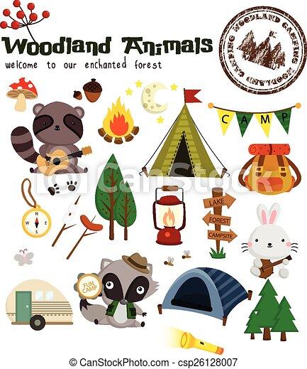 ベクトル, セット, 森林地帯, 動物, キャンプ - csp26128007