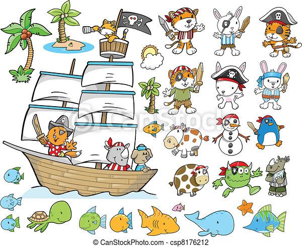ベクトル, セット, 海賊, 動物 - csp8176212