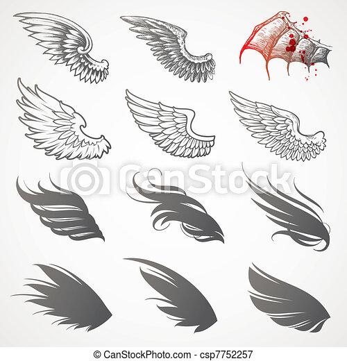 ベクトル, セット, 翼 - csp7752257