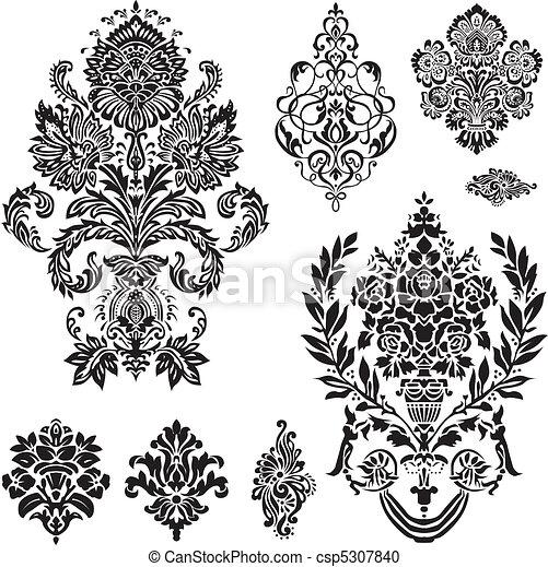 ベクトル, セット, 装飾, ダマスク織 - csp5307840