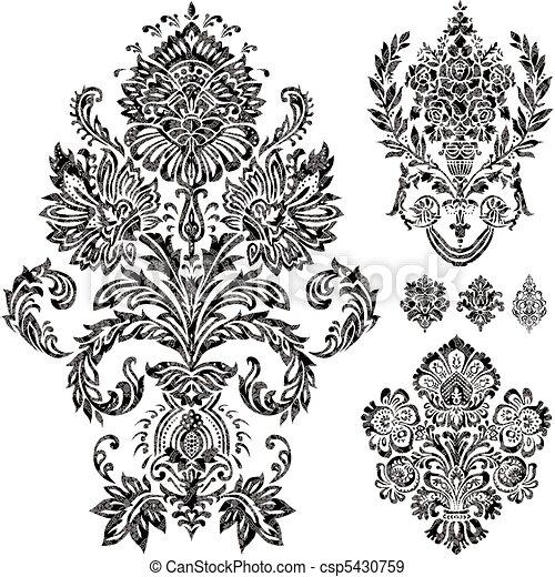 ベクトル, セット, 装飾, ダマスク織 - csp5430759