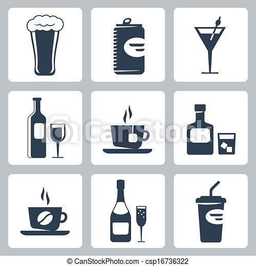 ベクトル, セット, 隔離された, 飲料, アイコン - csp16736322