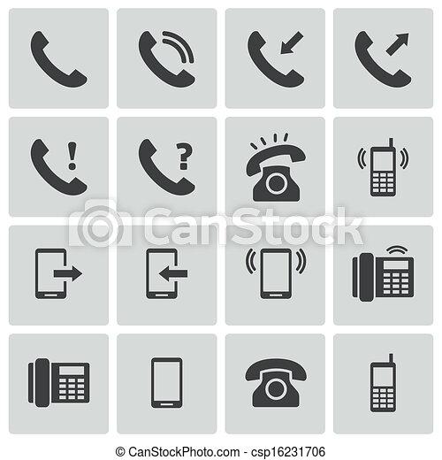 ベクトル, セット, 黒い電話, アイコン - csp16231706