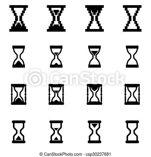 ベクトル, セット, 黒, 砂時計, アイコン - csp30237681