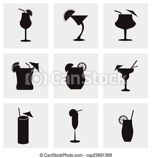 ベクトル, セット, 黒, 飲料, アイコン - csp23691368