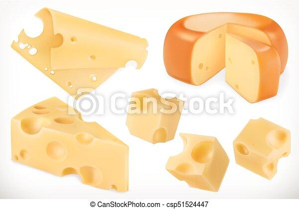ベクトル, セット, cheese., 3d, アイコン - csp51524447