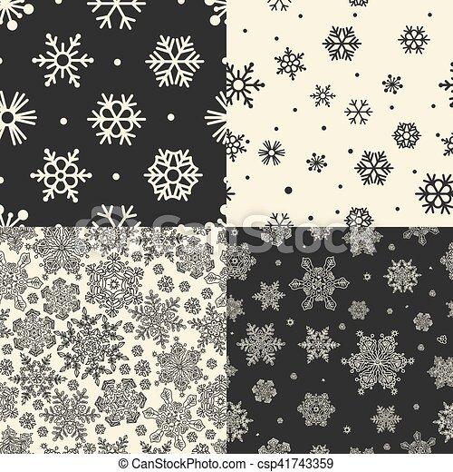 ベクトル, セット, patterns., seamless, 雪片 - csp41743359