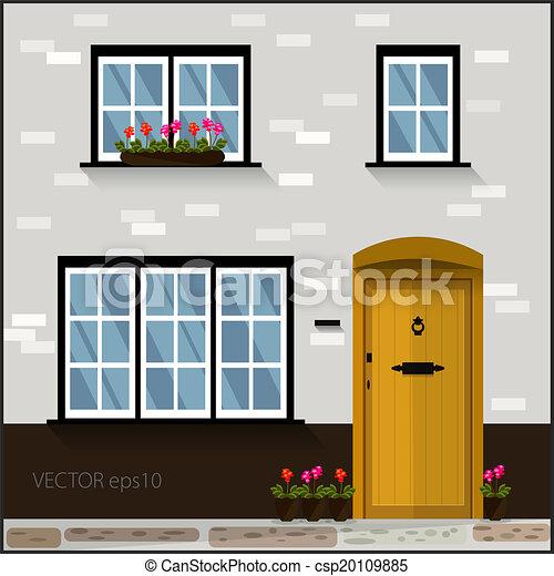 ベクトル, ドア, 窓, ファサド, 黄色 - csp20109885