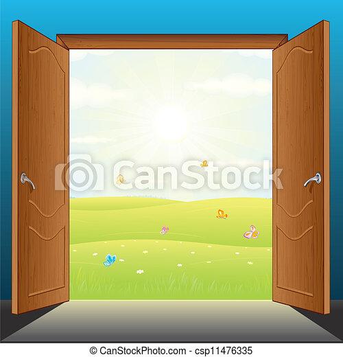 ベクトル, ドア, 自然 - csp11476335