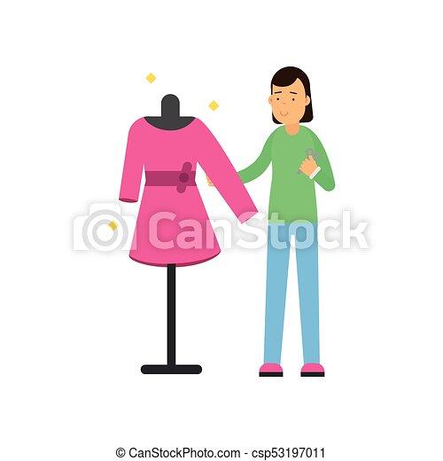 ベクトル, ドレスメーカー, 仕立屋, 女, dummy., カラフルである, 平ら, 服, character., 若い, 裁縫, s,  ファッション, イラスト, 女性, デザイナー仕立ての衣類