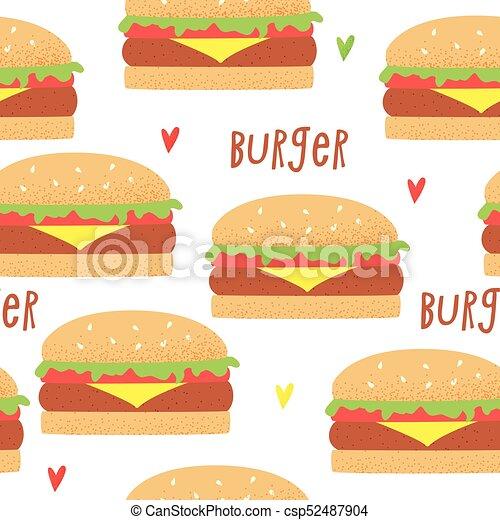 ベクトル ハンバーガー レトロ イラスト かわいい ハンバーガー